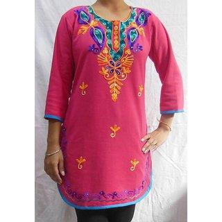 Pink Woolen Embroidered Kurti 109P