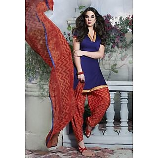 Riti Riwaz Navy Blue Ladies Indian Dress Material with matching duppata 5SP5012