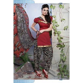 Riti Riwaz Red Ladies Indian Dress Material with matching duppata 5SP5015