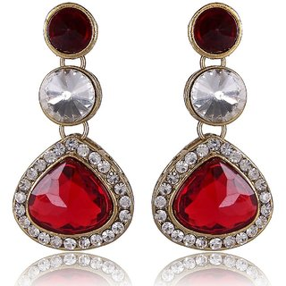 Shining Diva Red Kundan Earrings (6624er)