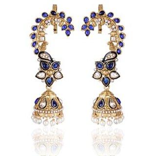Shining Diva Blue Ear Cuff Style Jhumki Earrings (6776er)