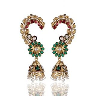 Shining Diva Maroon Green Ear Cuff Style Jhumki Earrings (6777er)