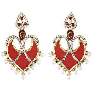 Shining Diva Gold Plated Red Ethnic Earrings (6787er)