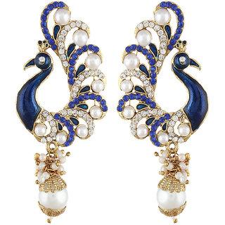 Shining Diva Gold Plated Blue Peacock Earrings (6790er)