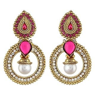 Shining Diva Pink Stone Traditional Earrings (6801er)