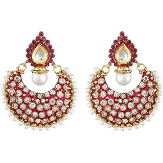 Shining Diva Pink Stone Ethnic Kundan Earrings (6804er)