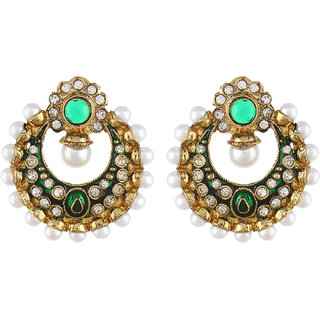 Shining Diva Green Stone Mughal Chnadbali Style Earrings (6805er)