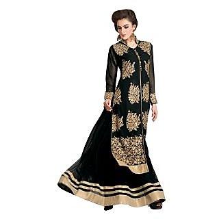 Triveni Fine-looking Black Colored Embroidered Faux Georgette Salwar Kameez