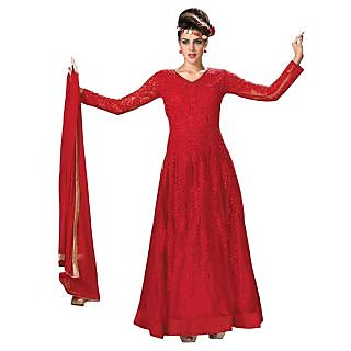 Triveni Charismatic Red Colored Embroidered Net Anarkali