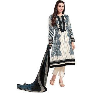 Triveni Beautiful Cream Colored Embroidered Cotton Salwar Kameez