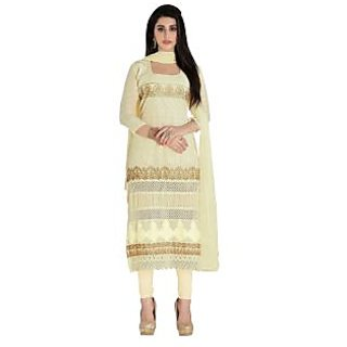 Triveni Admirable Cream Colored Embroidered Cotton Salwar Kameez