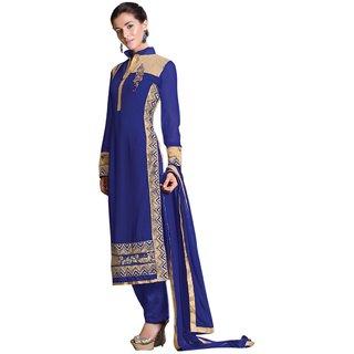 Triveni Amazing Blue Colored Embroidered Bamber Georgette Salwar Kameez