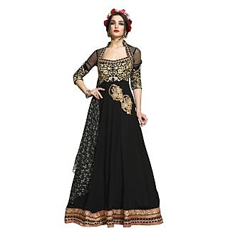 Triveni Sizzling Black Colored Embroidered Faux Georgette Anarkali