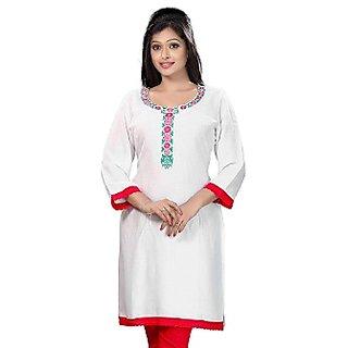 Plain White Cotton Kurti