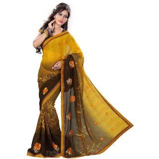 shivam creation chiffon yellow sareeSEFKW2397