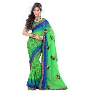 newly indian designer green chiffon sareeSEFKW2401