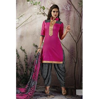 Riti Riwaz Pink & Grey Ladies IndianDressMaterial with matching duppata 6SNP6001