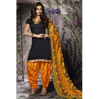 Riti Riwaz Black&yellow LadiesIndianDressMaterial with matching duppata 6SNP6002