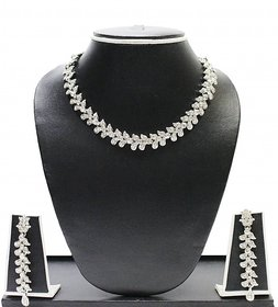 Zaveri Pearls Silver Alloy Silver Plated Necklace Set For Women