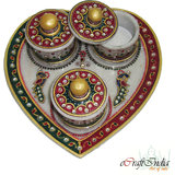 Ecraftindia Designer Heart Shaped Marble Tray With 3 Boxes