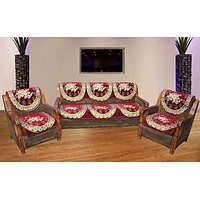 JBG Home Store Luxury Maroon Sofa Cover Set ( Set Of 10)