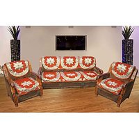 JBG Home Store Decorative Orange  Sofa Cover Set ( Set Of 10)