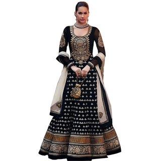Black Georgette Embroidered Anarkali Dress Material