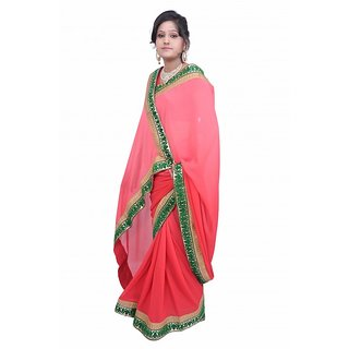Lado Party Wear Light Red Color Saree With Unstitched Blouse Piece