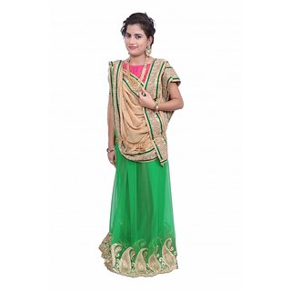 Lado Party Wear Green And Brown Color Saree With Unstitched Blouse Piece