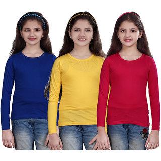 SINIMINI GIRLS FULL SLEEVE TOP ( PACK OF 3 )SMF500RBLUELYELLOWRPINK