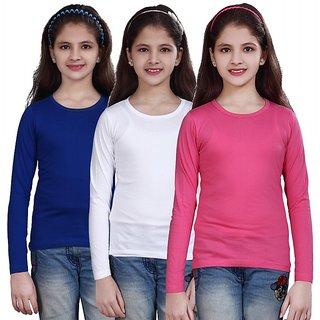 Sinimini Multicolour Blended Full Sleeve Top For Girls (Pack of 3)