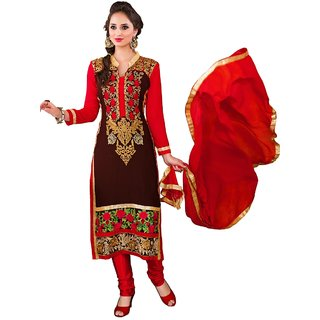 Triveni Fine-looking Brown Colored Embroidered Faux Georgette Salwar Kameez
