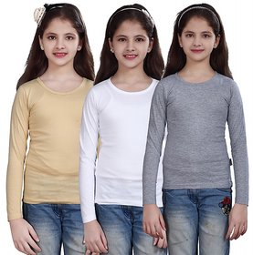 SINIMINI GIRLS FULL SLEEVE TOP ( PACK OF 3 )SMF500BEIGEWHITEWMELANGE