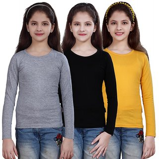 SINIMINI GIRLS FULL SLEEVE TOP ( PACK OF 3 )SMF500_WMELANGE_BLACK_GYELLOW