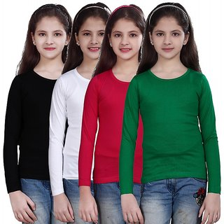 SINIMINI GIRLS FULL SLEEVE TOP ( PACK OF 4 )SMF500_BLACK_WHITE_RPINK_GREEN