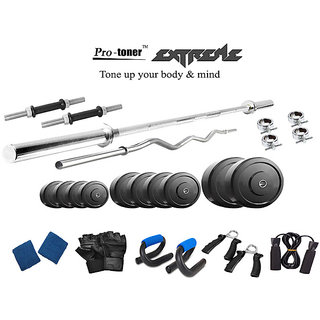 Protoner  Extreme Weight Lifting Package 40 Kgs + 5' Straight+ 3' Curl Rod