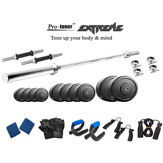 Protoner  Extreme Weight Lifting Package 32 Kgs + 5 Feet Straight Rod