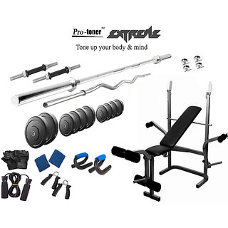 Protoner  Extreme Weight Lifting Package 32 Kgs + 5' Straight+ 3' Curl Rod + Protoner 5 In 1 Multy Bench