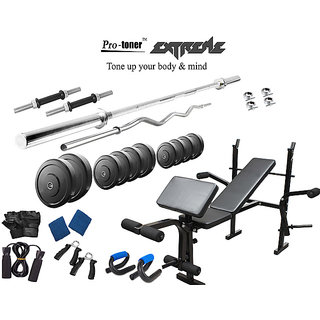 Protoner  Extreme Weight Lifting Package 34 Kgs + 5' Straight+ 3' Curl Rod + Protoner 7 In 1 Multy Bench