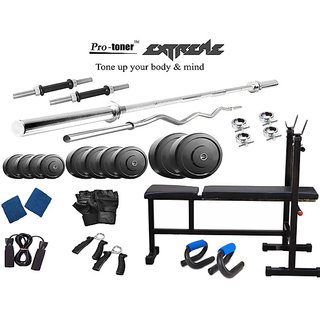 Protoner  Extreme Weight Lifting Package 34 Kgs + 5' Straight+ 3' Curl Rod + Inc/Dec/Flat 3 In 1 Bench