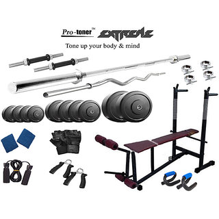 Protoner  Extreme Weight Lifting Package 28 Kgs + 5' Straight+ 3' Curl Rod + 6 In 1 Weight Bench
