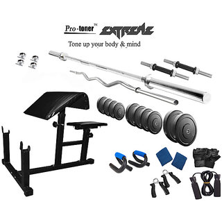 Protoner  Extreme Weight Lifting Package 34 Kgs + 5' Straight+ 3' Curl Rod + Preacher Curl Bench