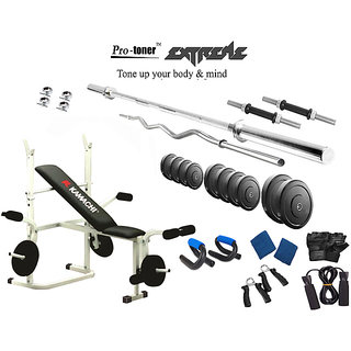 Protoner  Extreme Weight Lifting Package 28 Kgs + 5' Straight+ 3' Curl Rod +  Kamachi Multy Bench