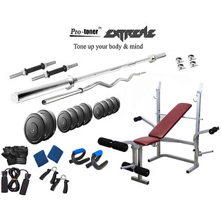 Protoner  Extreme Weight Lifting Package 32 Kgs + 5' Straight+ 3' Curl Rod + Lifeline 5 In1 Bench
