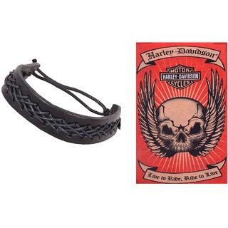 Jstarmart Thread Designed Black Wrist Band Combo Bandana