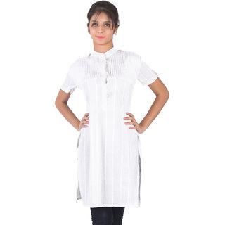 Hakoba Lovely Half Sleeves Cotton White Stand Collar Embroiderd Kurti.