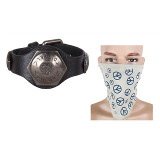 Jstarmart Brain Design Wrist Band Combo Face Mask JSMFHWB0310