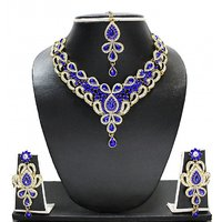 Zaveri Pearls Silver Plated Silver  Blue Necklace Set For Women
