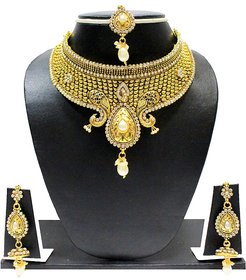 Zaveri Pearls Gold Plated Gold Alloy Necklace Set For Women