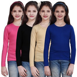 SINIMINI GIRLS FULL SLEEVE TOP ( PACK OF 4 )SMF500_MPINK_BLACK_BEIGE_RBLUE